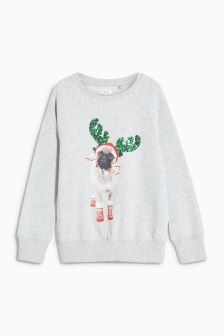 Christmas Pug Sweatshirt (3-16yrs)