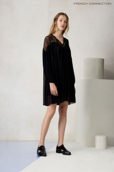 French Connection Black Lassia Lace Jersey Dress