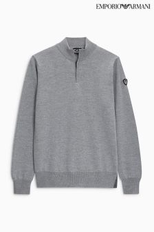 Emporio Armani EA7 Grey Mélange Knit 1/4 Zip Top