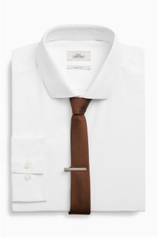 Slim Fit Shirt With Brown Tie And Tie Clip Set