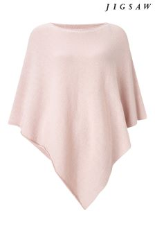 Jigsaw Pink Wool Cashmere Blend Rolled Poncho