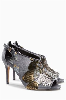 Delicate Buckle Sequin Shoe Boots