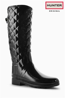 Hunter Original Black Gloss Refined Quilted Tall Welly