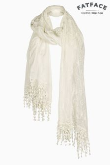 Fat Face Ivory Butterfly Lace Scarf