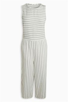 Stripe Wide Leg Linen Blend Jumpsuit