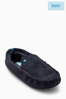 Baker By Ted Baker Navy Moccasin Slippers
