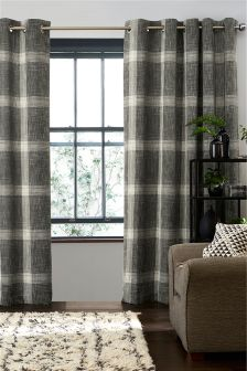 Charcoal Astley Bouclé Check Eyelet Lined Curtains