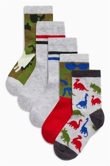 Glow In The Dark Dino Socks Five Pack (Younger Boys)