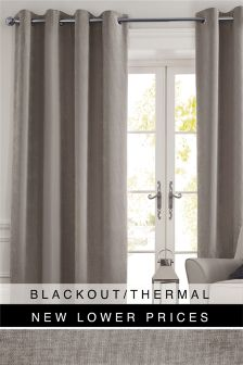 Soft Velour Eyelet Blackout Curtains