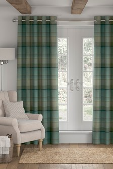 Marlow Woven Check Studio Eyelet Curtains