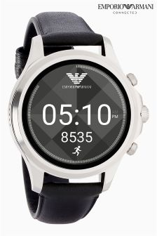 Emporio Armani Connected Black Leather Strap Touchscreen Smartwatch
