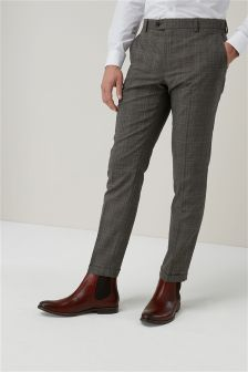 Textured Check Skinny Fit Suit: Trousers