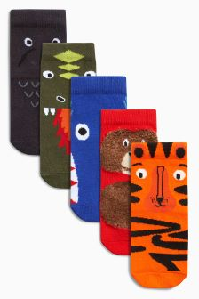 Animal Five Pack Socks (Younger Boys)