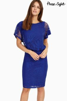 Phase Eight Blue Pia Palm Burnout Dress