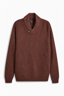 Ribbed Shawl Neck Sweater
