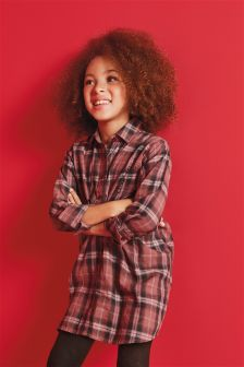 Check Knot Front Longline Shirt (3-16yrs)