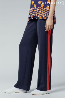 Warehouse Navy Stripe Side Wide Leg Trouser