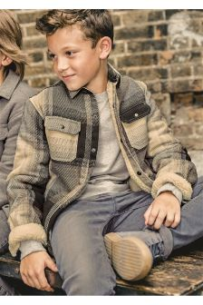 Long Sleeve Borg Lined Check Shacket (3-16yrs)
