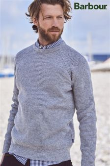 Barbour® Grey Marl Keswick Rib Crew Jumper