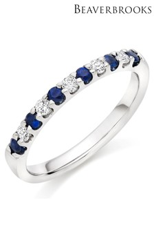 Beaverbrooks 18ct White Gold Diamond And Sapphire Half Eternity Ring