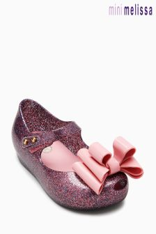 Mini Melissa Blush Glitter Ultragirl Triple Bow Mary Jane