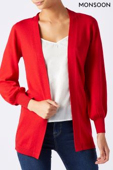 Monsoon Red Jasmine Bell Sleeve Cardigan