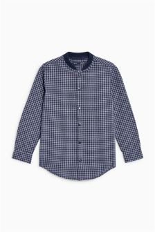 Long Sleeve Rib Collar Check Shirt (3-16yrs)