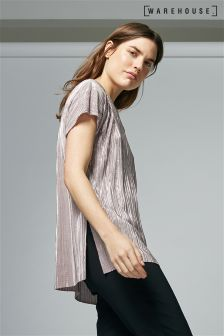Warehouse Pink Plisse Tee