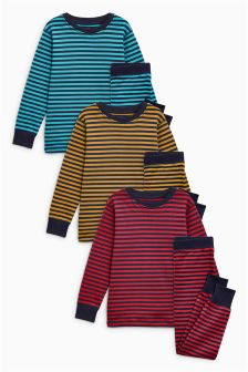 Stripe Snuggle Fit Pyjamas Three Pack (9mths-8yrs)