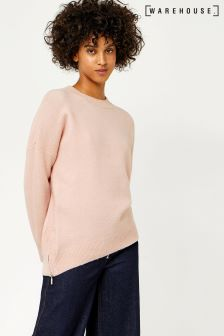 Warehouse Pink Marl Zip Side Mohair Jumper