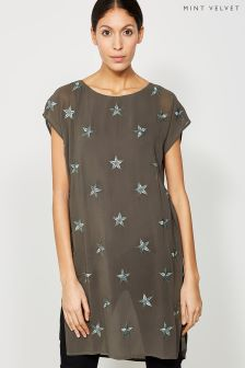 Mint Velvet Khaki Star Embroidered Tunic