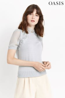 Oasis Mid Grey Lace And Sheer Knit