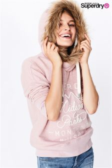 Superdry Canyon Pink Appliqué Faux Fur Slouch Hoody