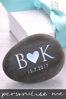 Personalised Initials And Heart Decorative Pebble By Letterfest
