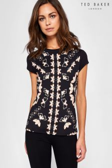 Ted Baker Monikar Black Butterfly Print Queen Bee Fitted Tee