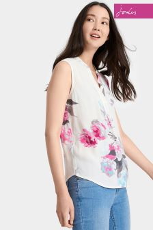 Joules Cream Beau Bloom Sleeveless Top With Collar
