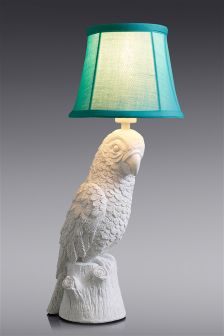 White Parrot Table Lamp With Teal Candle Shade