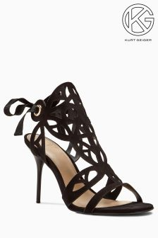 KG Black Suede Honour Cut Out Sandal