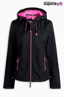 Superdry Black And Pink Hooded Windtrekker Jacket