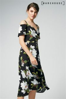 Warehouse Multi Magnolia Button Through Midi Dress
