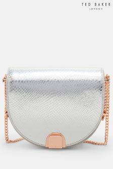 Ted Baker Silver Annii Exotic Detail Cresent Across Body Bag