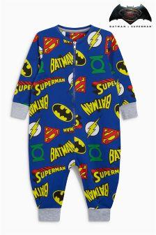 Batman® Superman® All Over Print Sleepsuit (9mths-8yrs)