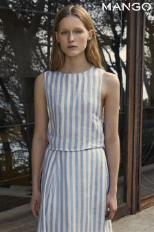 Mango Blue Striped Tie Back Sleeveless Top