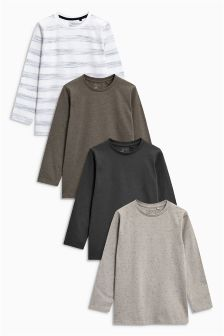 Long Sleeve Textured T-Shirts Four Pack (3-16yrs)