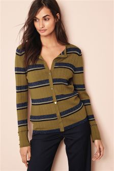 Ribbed Button Cardigan