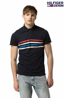 Tommy Hilfiger Denim Blue Stripe Polo Top