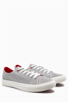 Stripe Canvas Lace-Up Baseball Pumps