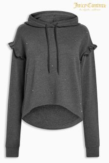 Juicy Couture Black Metal Detail Ruffle Hoody