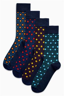 Hexagon Geo Socks Four Pack