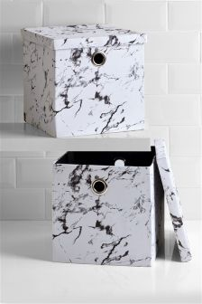 Set Of 2 Marble Print Cubes